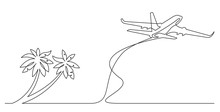 Continuous Line Drawing Of Palm Trees On Beach And Airplane