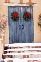 Blue Holiday Gate Entryway In Santa Fe, New Mexico
