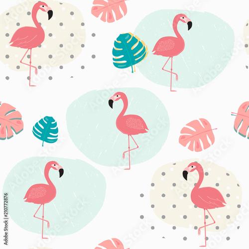doodle-pastelowe-tropikalne-lato-liscie-i-rozowy-flamingo-wzor-bezszwowe-tlo