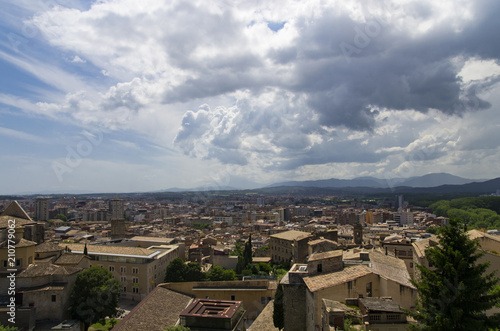 Foto op Aluminium Oude gebouw Landscape of the city of Girona from the hill