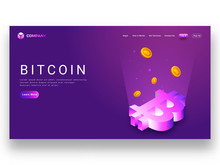 Digital Rays Coming From 3D Bitcoin Symbol On Purple Background, Responsive Landing Page For Virtual Currency Concept.