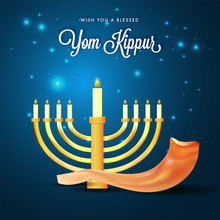 Menorah With Burning Candles A...