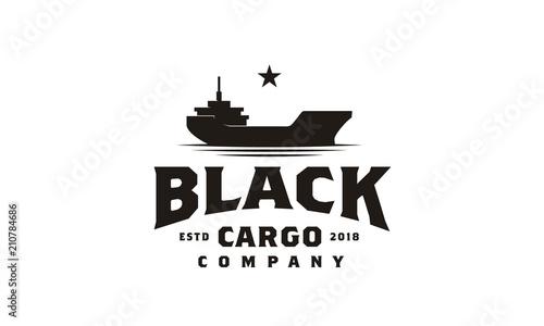 Photo Vintage Black Heavy Cargo Ship Boat on the sea ocean retro logo design