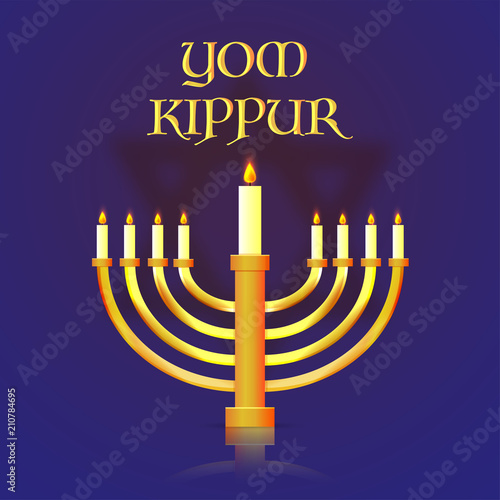 Yom Kippur banner or poster design, menorah with burning candles on blue background Canvas-taulu