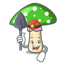 Miner Green Amanita Mushroom Mascot Cartoon