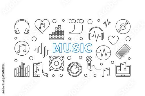 Poziomy baner muzyka wektor wykonane z ikonami konspektu