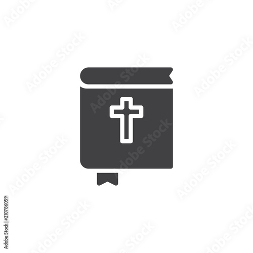Holy bible book with bookmark vector icon. filled flat sign for mobile concept and web design. Religion and christianity simple solid icon. Symbol, logo illustration. Pixel perfect vector graphics