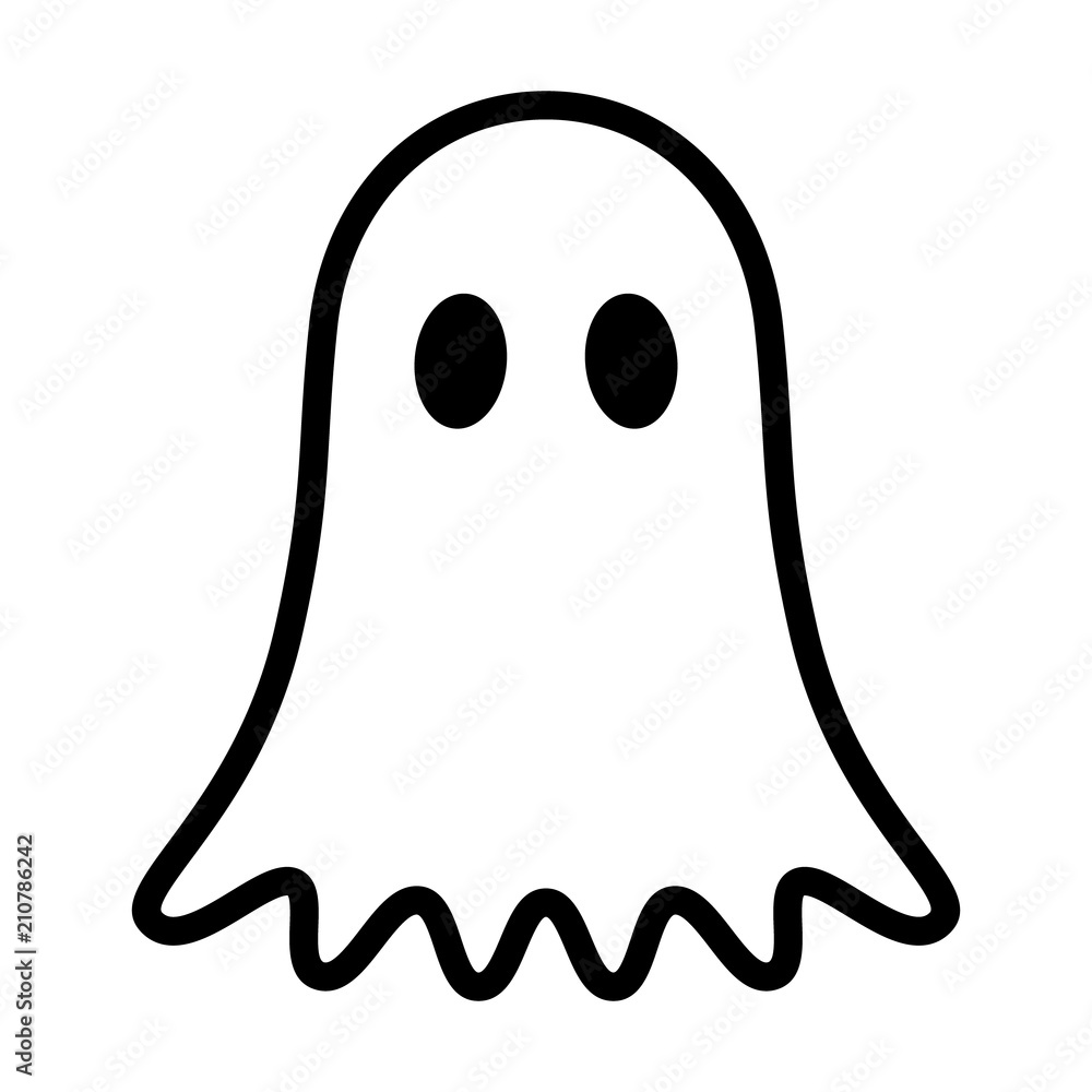 Fototapeta Ghost, phantom or apparition haunting Halloween line art vector icon for holiday apps and websites