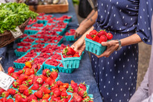 Fresh Strawberries At Farmers Market