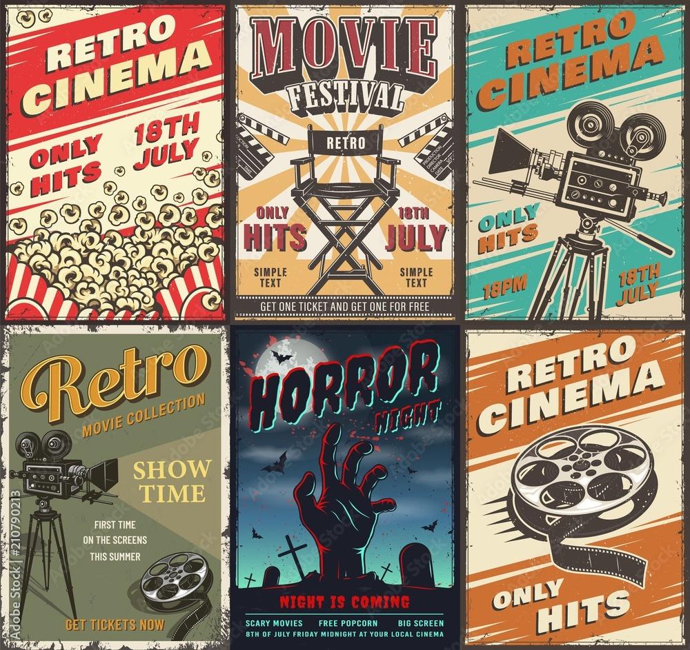 Fototapeta Cinema set of posters