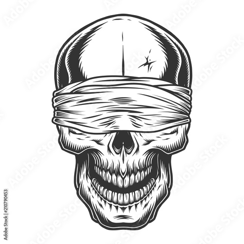 Monochrome vintage skull Canvas Print