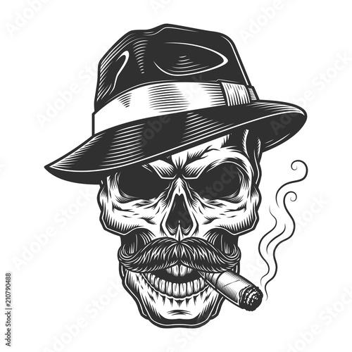 Monochrome vintage skull Fototapet