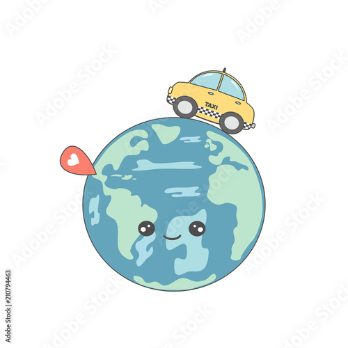 Staande foto Cartoon cars cute cartoon vector concept illustration with taxi cab around earth and map pointer