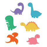 Fototapeta Dinusie - set with cartoon dinosaurs