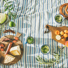 Flat-lay Of Summer Picnic Set ...