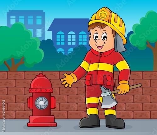 In de dag Voor kinderen Firefighter man image 2