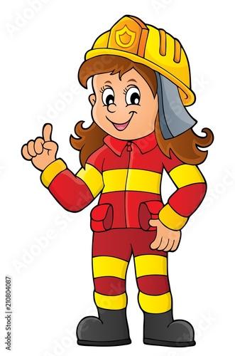 Foto auf Gartenposter Für Kinder Firefighter woman image 1