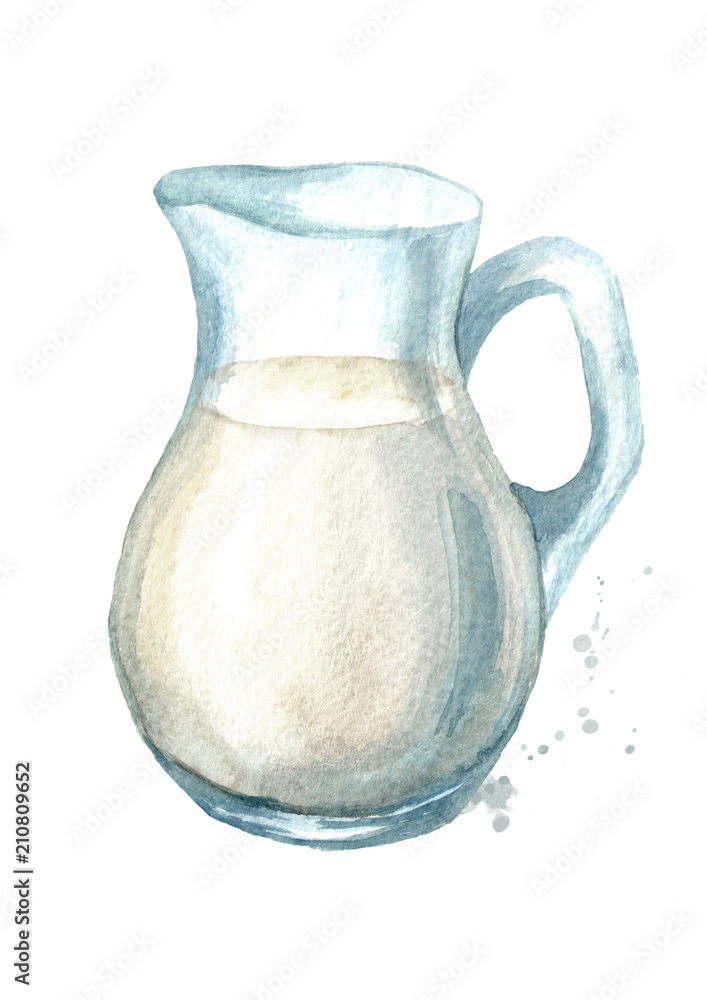 Fototapety, obrazy: Jug with milk. Watercolor hand drawn illustration, isolated on white background