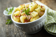Homemade Warm Potato Salad With Onion And Fried Bacon