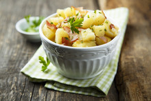 Homemade Warm Potato Salad With Onion And Fried Bacon