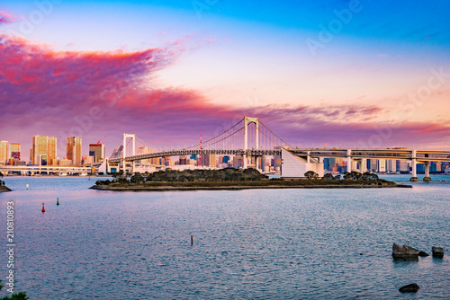 Plakat Widok Tokio zatoka, tęcza most.