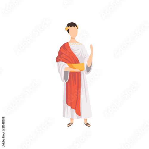 Roman emperor, man in traditional clothes of Ancient Rome vector Illustration on Canvas-taulu