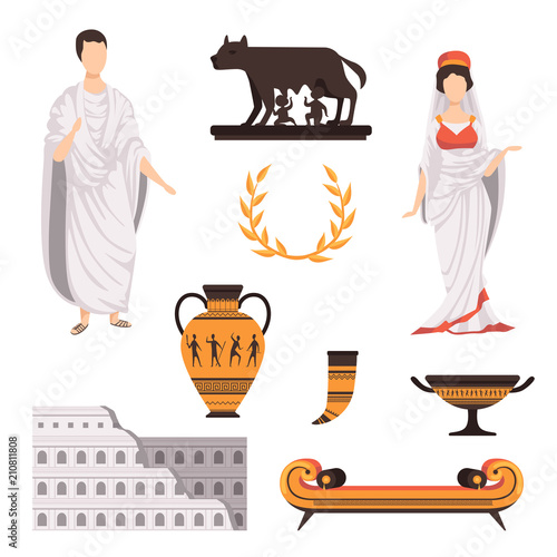 Fotomural Traditional cultural symbols of ancient Rome set vector Illustrations on a white