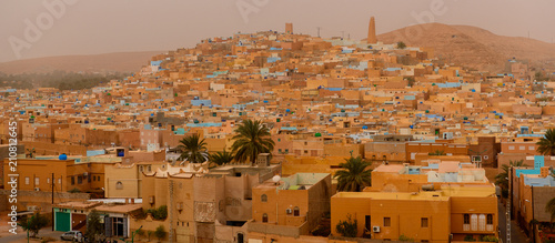 Panoramic view of Ghardaia (Tagherdayt), Algeria, located along Wadi Mzab, UNESC Canvas Print