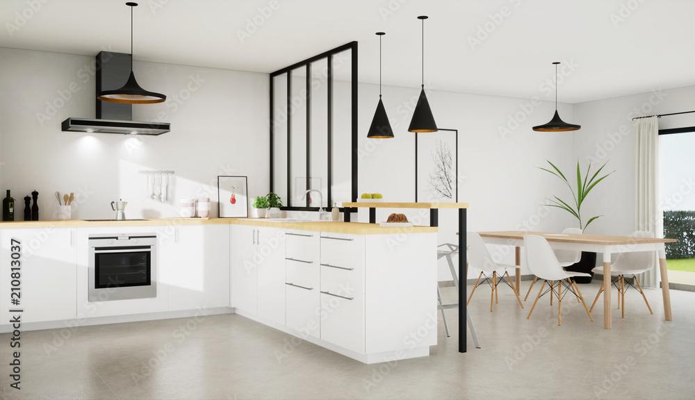 Fototapety, obrazy: vue 3d cuisine 11-01