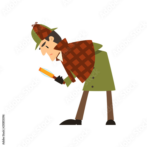 Sherlock Holmes detective character with magnifying glass vector Illustration on Wallpaper Mural