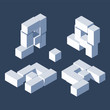 3d blocks letter A. Different isometric views with shadows, laying down and standing. Clean alphabet design in blue shades color