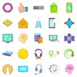 Mobile connection icons set. Cartoon set of 25 mobile connection vector icons for web isolated on white background