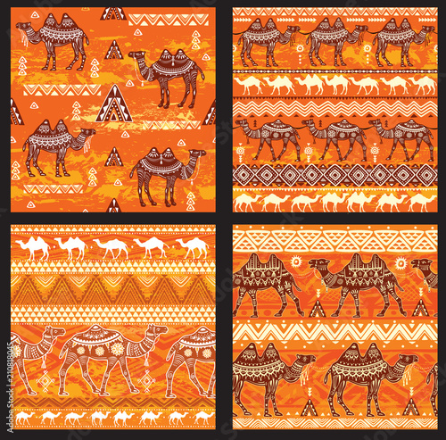Fotografie, Obraz  Set of Seamless pattern with camels
