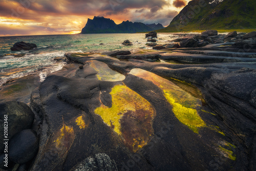 Fotobehang Cappuccino Sunset over Uttakleiv beach on Lofoten islands in Norway