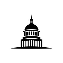 Icon Isolated White Background, Sacramento Vector Government Building