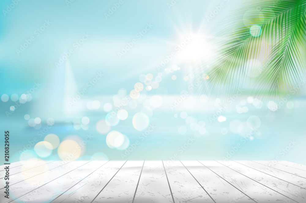 Fototapeta View of a tropical beach with a sailboat. Vector Illustration.