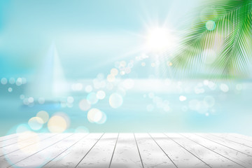 View of a tropical beach with a sailboat. Vector Illustration.