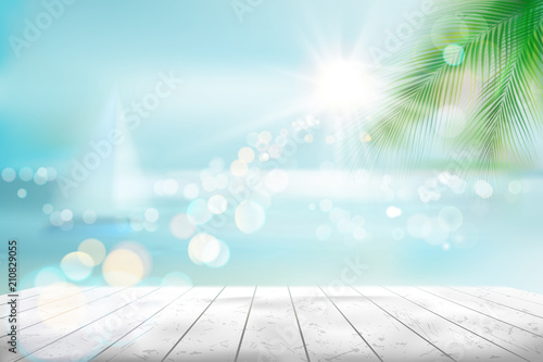 View of a tropical beach with a sailboat. Vector Illustration. Wallpaper Mural