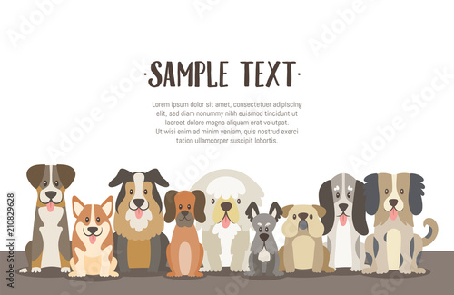 Fotografía  Herd of dogs background illustration with sample text in the top