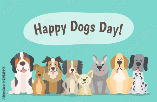 Happy Dogs Day Concept Pack Of Happy Dogs Sitting In Front View Position Cartoon Vector Illustration Buy This Stock Vector And Explore Similar Vectors At Adobe Stock Adobe Stock