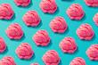 Leinwandbild Motiv Pink strawberry ice cream pattern on pastel blue background. Summer minimalism. Isometric flat lay.