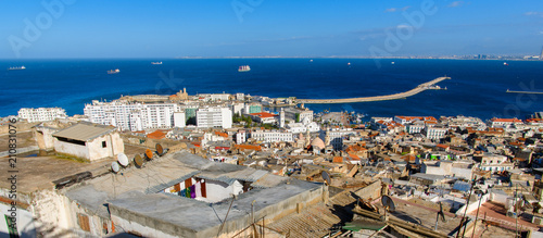 Fotografiet Aerial view of Algiers, the capital and largest city of Algeria
