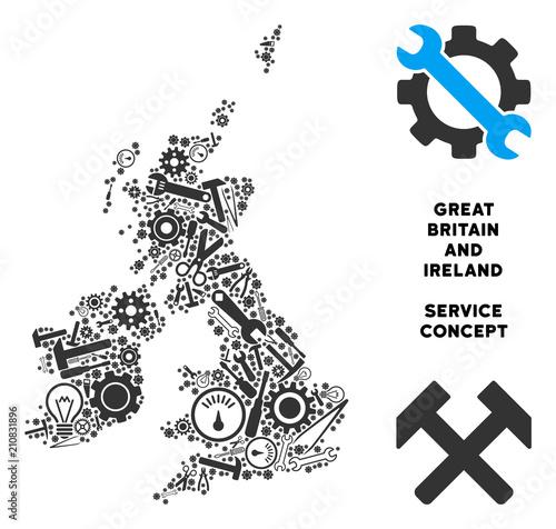 Valokuvatapetti Service Great Britain and Ireland map collage of instruments