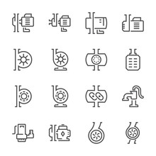 Electric Water Pump And Steel Pipe For Water Distribution Icon Set, 48x48 Perfect Pixel And Editable Stroke.