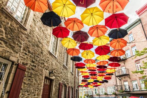 Fotografering Lot of Umbrellas in Petit Champlain street Quebec city, Canada
