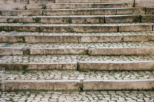 Tuinposter Berkbosje Stone old or traditional medieval staircase. Way up