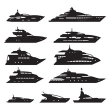 Ships And Boats Set, Yacht Ico...