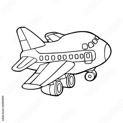Papiers peints Cartoon draw Airplane cartoon illustration isolated on white background for children color book