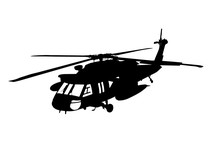 Silhouette Of Military Helicopter Vector
