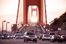 San Francisco Golden Gate Bridge Traffic On Foggy Day Dramatic Evening Light